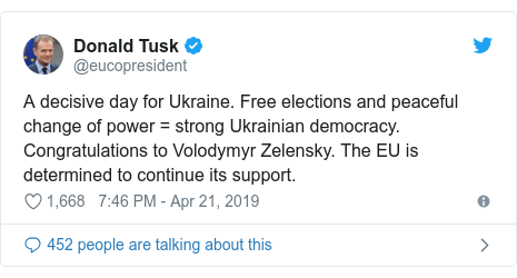 Twitter post by @eucopresident: A decisive day for Ukraine. Free elections and peaceful change of power = strong Ukrainian democracy. Congratulations to Volodymyr Zelensky. The EU is determined to continue its support.