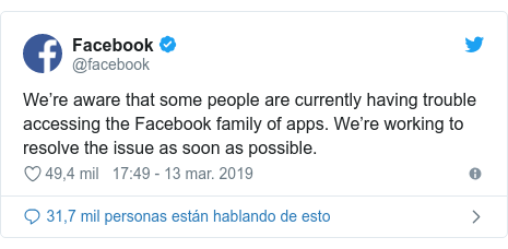 Publicación de Twitter por @facebook: We're aware that some people are currently having trouble accessing the Facebook family of apps. We're working to resolve the issue as soon as possible.