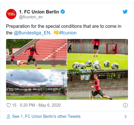Twitter post by @fcunion_en: Preparation for the special conditions that are to come in the @Bundesliga_EN. 👊#fcunion