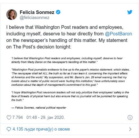 Twitter post by @feliciasonmez: I believe that Washington Post readers and employees, including myself, deserve to hear directly from @PostBaron on the newspaper's handling of this matter. My statement on The Post's decision tonight