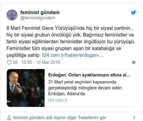 @feministgundem tarafından yapılan Twitter paylaşımı: 8 Mart Feminist Gece Yürüyüşü'nde hiç bir siyasi partinin , hiç bir siyasi grubun öncülüğü yok. Bağımsız feministler ve farklı siyasi eğilimlerden feministler örgütlüyor bu yürüyüşü. Feministler tüm siyasi grupları aşan bir kalabalığa ve çeşitliliğe sahip