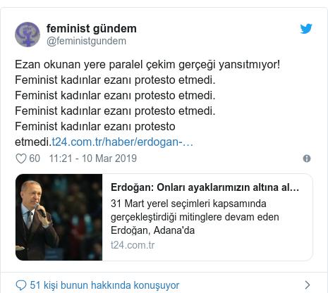@feministgundem tarafından yapılan Twitter paylaşımı: Ezan okunan yere paralel çekim gerçeği yansıtmıyor!Feminist kadınlar ezanı protesto etmedi.Feminist kadınlar ezanı protesto etmedi.Feminist kadınlar ezanı protesto etmedi.Feminist kadınlar ezanı protesto etmedi.