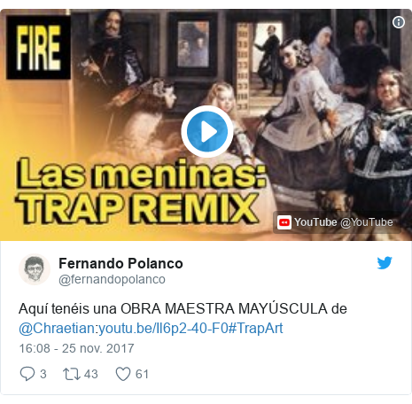 Publicación de Twitter por @fernandopolanco: Aquí tenéis una OBRA MAESTRA MAYÚSCULA de @Chraetian #TrapArt