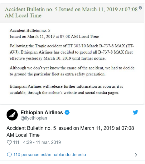 Publicación de Twitter por @flyethiopian: Accident Bulletin no. 5 Issued on March 11, 2019 at 07 08 AM Local Time