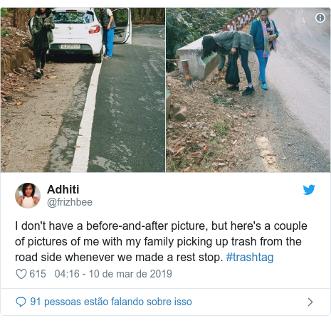 Twitter post de @frizhbee: I don't have a before-and-after picture, but here's a couple of pictures of me with my family picking up trash from the road side whenever we made a rest stop. #trashtag