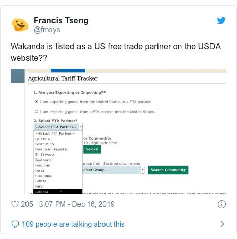 Сообщение в Твиттере от @frnsys: Ваканда числится в списке партнеров США по свободной торговле на веб-сайте USDA ??