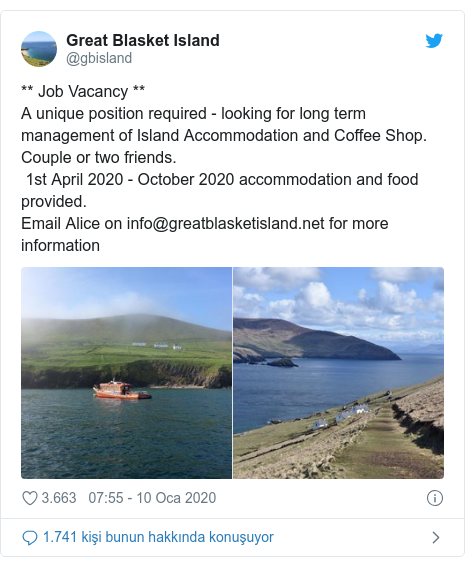@gbisland tarafından yapılan Twitter paylaşımı: ** Job Vacancy ** A unique position required - looking for long term management of Island Accommodation and Coffee Shop. Couple or two friends.  1st April 2020 - October 2020 accommodation and food provided. Email Alice on info@greatblasketisland.net for more information