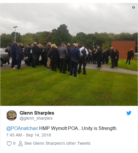 Twitter post by @glenn_sharples: @POAnatchair HMP Wymott POA...Unity is Strength.