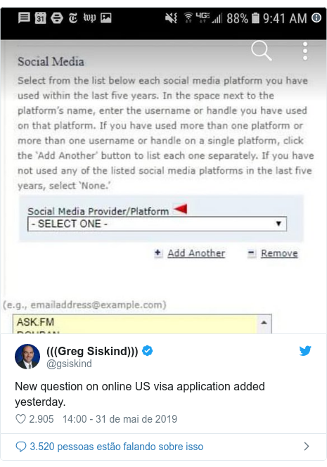 Twitter post de @gsiskind: New question on online US visa application added yesterday.