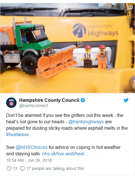 Heatwave could bring council road gritters out - BBC News