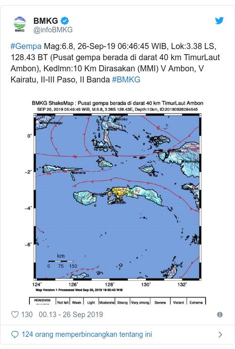 Twitter pesan oleh @infoBMKG: #Gempa Mag 6.8, 26-Sep-19 06 46 45 WIB, Lok 3.38 LS, 128.43 BT (Pusat gempa berada di darat 40 km TimurLaut Ambon), Kedlmn 10 Km Dirasakan (MMI) V Ambon, V Kairatu, II-III Paso, II Banda #BMKG