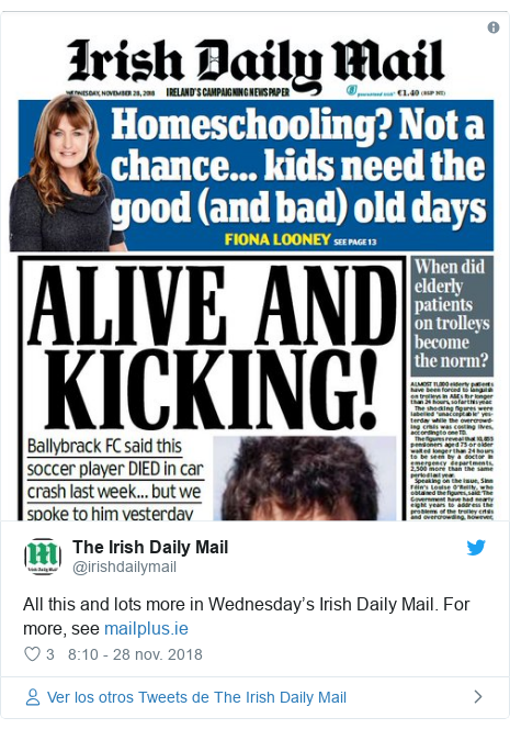 Publicación de Twitter por @irishdailymail: All this and lots more in Wednesday's Irish Daily Mail. For more, see