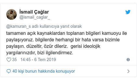 @ismail_caglar_ tarafından yapılan Twitter paylaşımı: tamamen açık kaynaklardan toplanan bilgileri kamuoyu ile paylaşıyoruz. bilgilerde herhangi bir hata varsa bizimle paylaşın. düzeltir, özür dileriz.  gerisi ideolojik yargılarınızdır, bizi ilgilendirmez.