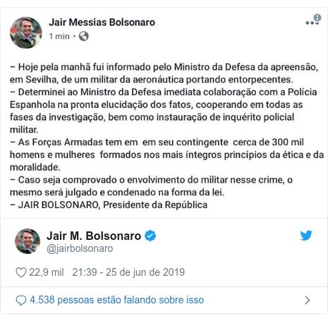 Twitter post de @jairbolsonaro: