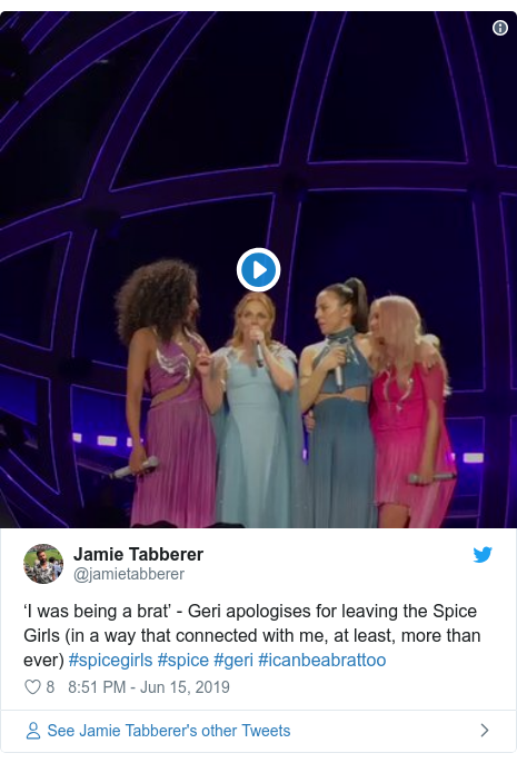 Twitter post by @jamietabberer: 'I was being a brat' - Geri apologises for leaving the Spice Girls (in a way that connected with me, at least, more than ever) #spicegirls #spice #geri #icanbeabrattoo