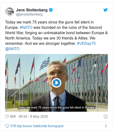@jensstoltenberg tarafından yapılan Twitter paylaşımı: Today we mark 75 years since the guns fell silent in Europe. #NATO was founded on the ruins of the Second World War, forging an unbreakable bond between Europe & North America. Today we are 30 friends & Allies. We remember. And we are stronger together. #VEDay75 @NATO