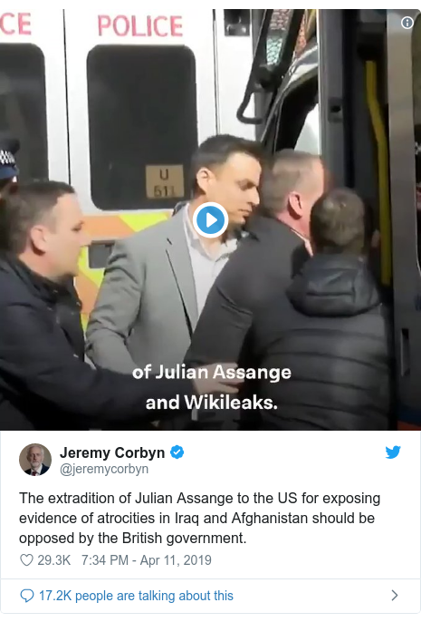 Twitter post by @jeremycorbyn: The extradition of Julian Assange to the US for exposing evidence of atrocities in Iraq and Afghanistan should be opposed by the British government.