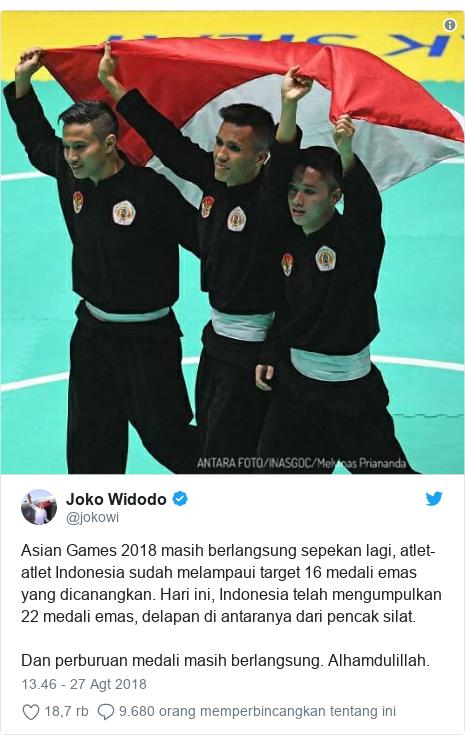 Twitter pesan oleh @jokowi: Asian Games 2018 masih berlangsung sepekan lagi, atlet-atlet Indonesia sudah melampaui target 16 medali emas yang dicanangkan. Hari ini, Indonesia telah mengumpulkan 22 medali emas, delapan di antaranya dari pencak silat.Dan perburuan medali masih berlangsung. Alhamdulillah.