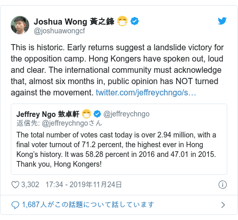Twitter post by @joshuawongcf: This is historic. Early returns suggest a landslide victory for the opposition camp. Hong Kongers have spoken out, loud and clear. The international community must acknowledge that, almost six months in, public opinion has NOT turned against the movement.