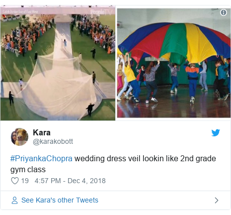 Twitter හි @karakobott කළ පළකිරීම: #PriyankaChopra wedding dress veil lookin like 2nd grade gym class