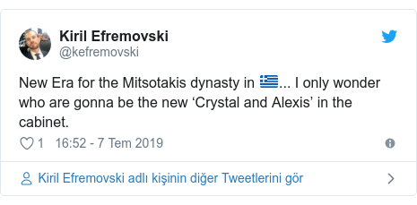@kefremovski tarafından yapılan Twitter paylaşımı: New Era for the Mitsotakis dynasty in ... I only wonder who are gonna be the new 'Crystal and Alexis' in the cabinet.