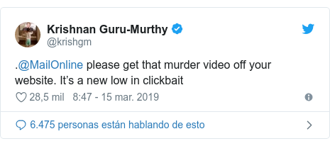 Twitter posting by @krishgm:. @ MailOnline please get that murder video off your website.  It's a new low in clickbait