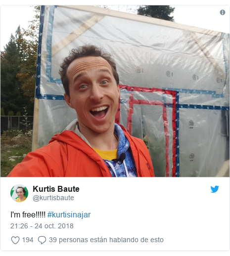 Publicación de Twitter por @kurtisbaute: I'm free!!!!! #kurtisinajar