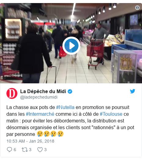 """Twitter post by @ladepechedumidi: La chasse aux pots de #Nutella en promotion se poursuit dans les #Intermarché comme ici à côté de #Toulouse ce matin   pour éviter les débordements, la distribution est désormais organisée et les clients sont """"rationnés"""" à un pot par personne 😢😢😢😢"""