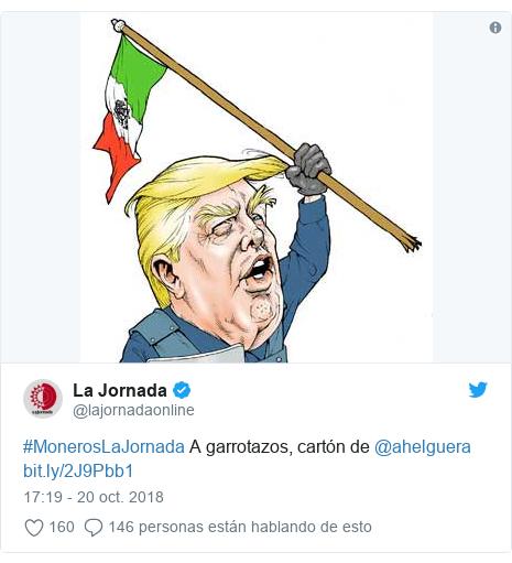 Publicación de Twitter por @lajornadaonline: #MonerosLaJornada A garrotazos, cartón de @ahelguera