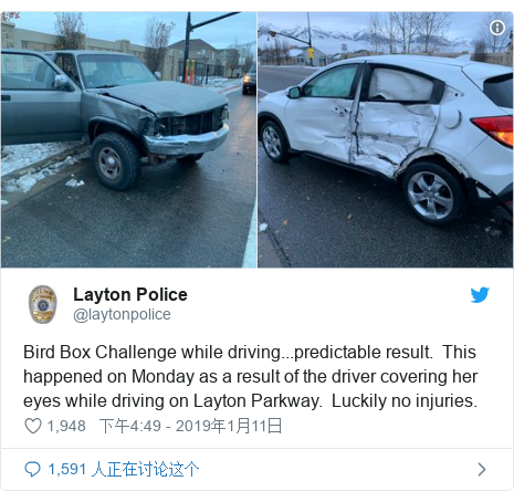 Twitter 用户名 @laytonpolice: Bird Box Challenge while driving...predictable result.  This happened on Monday as a result of the driver covering her eyes while driving on Layton Parkway.  Luckily no injuries.
