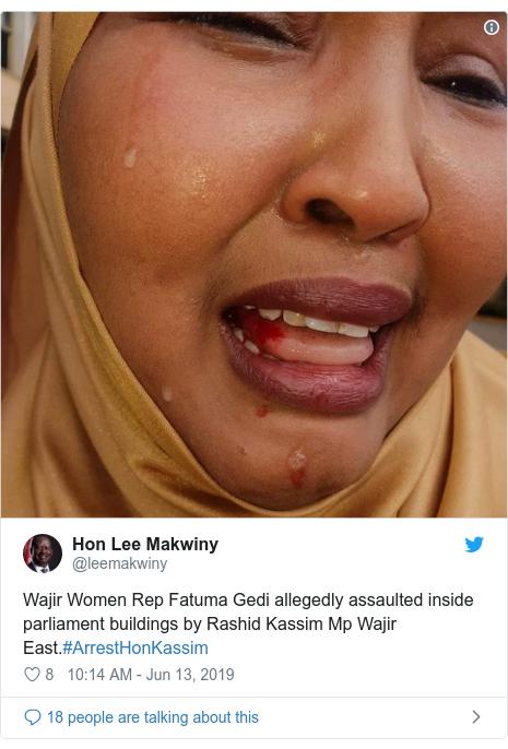 Twitter waxaa daabacay @leemakwiny: Wajir Women Rep Fatuma Gedi allegedly assaulted inside parliament buildings by Rashid Kassim Mp Wajir East.#ArrestHonKassim