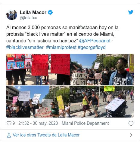 """Publicación de Twitter por @leilatxu: Al menos 3.000 personas se manifestaban hoy en la protesta """"black lives matter"""" en el centro de Miami, cantando """"sin justicia no hay paz"""" @AFPespanol - #blacklivesmatter #miamiprotest #georgefloyd"""