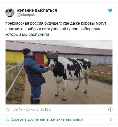 Twitter пост, автор: @letaetpolzaet: прекрассная россия будущего где даже коровы могут пережить ноябрь в виртуальной среде. киберпанк который мы заслужили