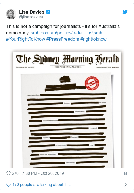 "Twitter post by @lisazdavies: This is not a campaign for journalists - it""™s for Australia""™s democracy. ""¦ @smh #YourRightToKnow #PressFreedom #righttoknow"