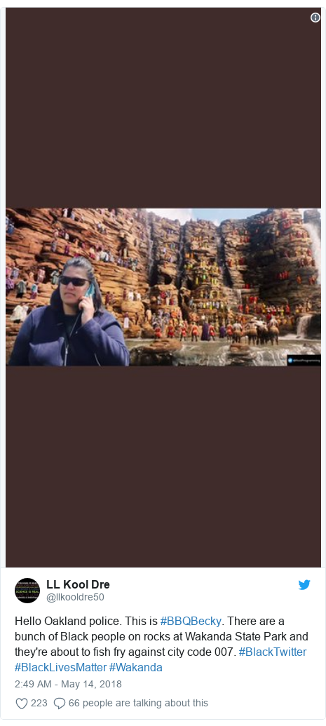 Twitter post by @llkooldre50: Hello Oakland police. This is #BBQBecky. There are a bunch of Black people on rocks at Wakanda State Park and they're about to fish fry against city code 007. #BlackTwitter #BlackLivesMatter #Wakanda