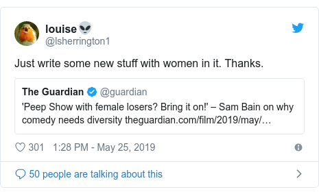 Twitter post by @lsherrington1: Just write some new stuff with women in it. Thanks.