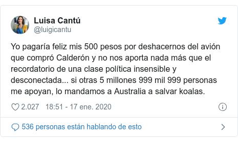 Publicación de Twitter por @luigicantu: Yo pagaría feliz mis 500 pesos por deshacernos del avión que compró Calderón y no nos aporta nada más que el recordatorio de una clase política insensible y desconectada... si otras 5 millones 999 mil 999 personas me apoyan, lo mandamos a Australia a salvar koalas.