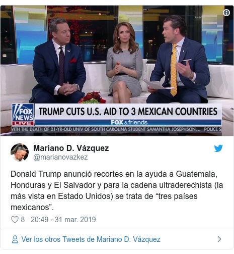 """Publicación de Twitter por @marianovazkez: Donald Trump anunció recortes en la ayuda a Guatemala, Honduras y El Salvador y para la cadena ultraderechista (la más vista en Estado Unidos) se trata de """"tres países mexicanos""""."""