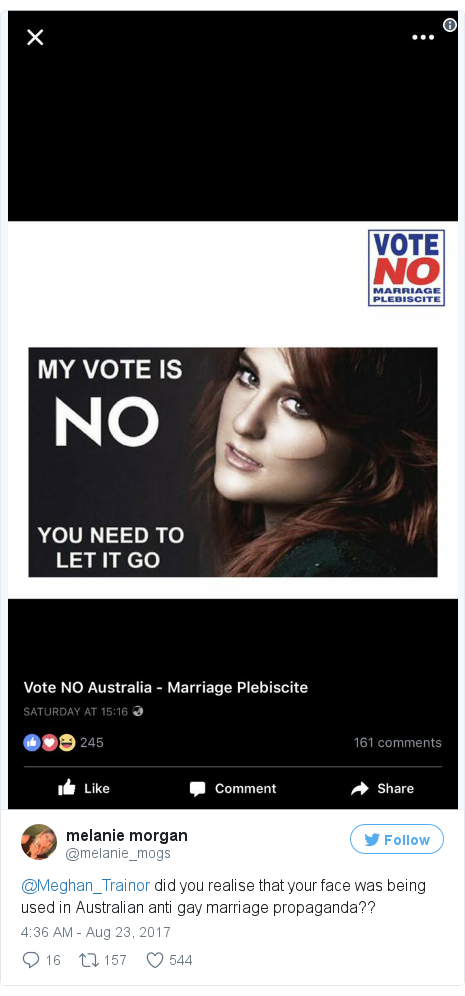 meghan trainor anger over anti gay marriage ad news twitter post by melanie mogs