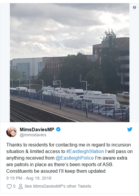 Twitter post by @mimsdavies: Thanks to residents for contacting me in regard to incursion situation & limited access to #EastleighStation I will pass on anything received from @EastleighPolice I'm aware extra are patrols in place as there's been reports of ASB. Constituents be assured I'll keep them updated