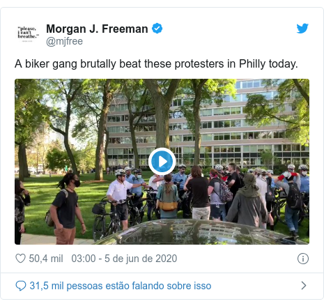 Twitter post de @mjfree: A biker gang brutally beat these protesters in Philly today.