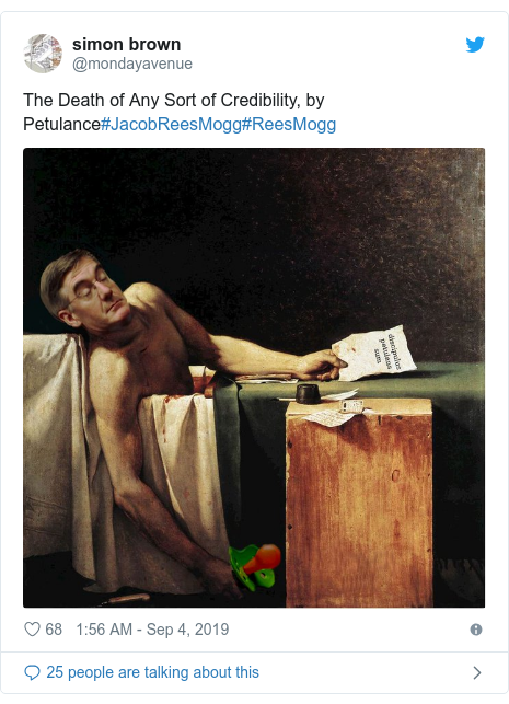 Twitter post by @mondayavenue: The Death of Any Sort of Credibility, by Petulance#JacobReesMogg#ReesMogg