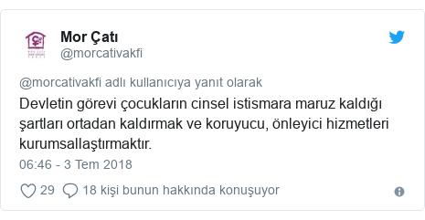 @morcativakfi tarafından yapılan Twitter paylaşımı: Devletin görevi çocukların cinsel istismara maruz kaldığı şartları ortadan kaldırmak ve koruyucu, önleyici hizmetleri kurumsallaştırmaktır.