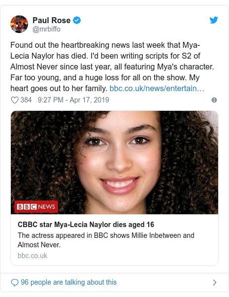 Mya-Lecia Naylor: CBBC star dies suddenly, aged 16 - BBC News