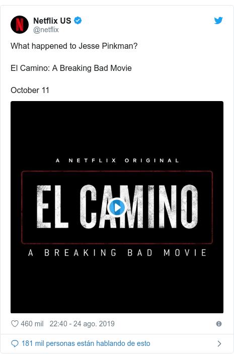 Publicación de Twitter por @netflix: What happened to Jesse Pinkman?El Camino  A Breaking Bad MovieOctober 11