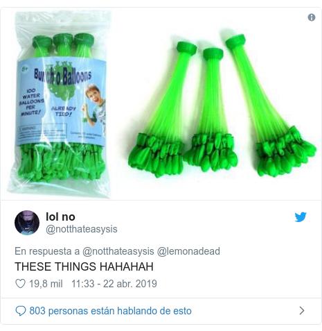 Publicación de Twitter por @notthateasysis: THESE THINGS HAHAHAH