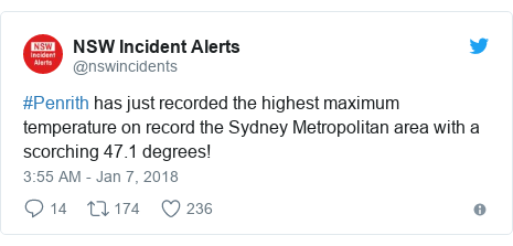 Twitter post by @nswincidents: #Penrith has just recorded the highest maximum temperature on record the Sydney Metropolitan area with a scorching 47.1 degrees!