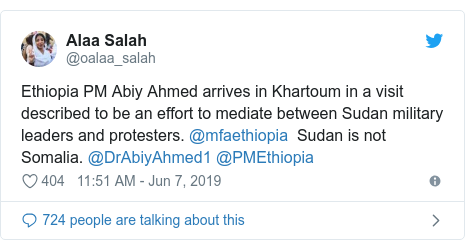 Twitter waxaa daabacay @oalaa_salah: Ethiopia PM Abiy Ahmed arrives in Khartoum in a visit described to be an effort to mediate between Sudan military leaders and protesters. @mfaethiopia  Sudan is not Somalia. @DrAbiyAhmed1 @PMEthiopia
