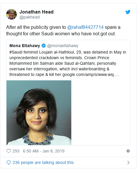 Twitter post by @pakhead: After all the publicity given to @rahaf84427714 spare a thought for other Saudi women who have not got out.