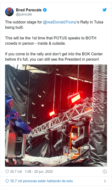 Publicación de Twitter por @parscale: The outdoor stage for @realDonaldTrump's Rally in Tulsa being built.This will be the 1st time that POTUS speaks to BOTH crowds in person - inside & outside.If you come to the rally and don't get into the BOK Center before it's full, you can still see the President in person!